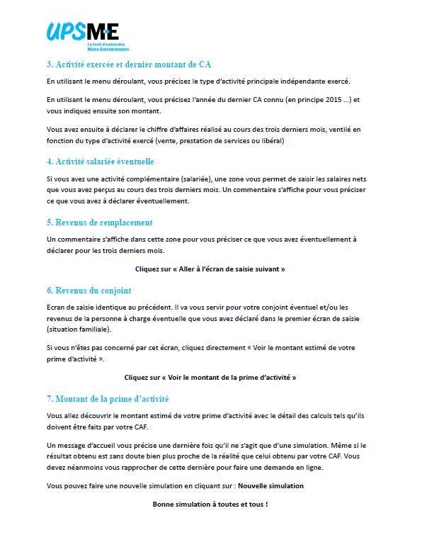 Notice 2 pour le simulateur de prime d'activité micro-entrepreneur