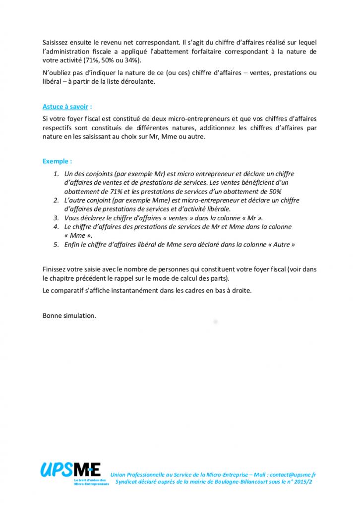 Notice (suite) d'utilisation du simulateur de prélèvement forfaitaire libératoire pour micro-entrepreneurs