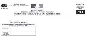 Formulaire de CFE cotisation foncière des enteprises pour micro-entrepreneur