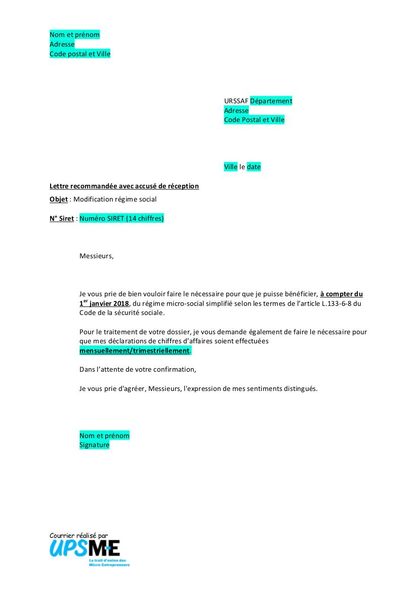 Modele Courrier Urssaf Droit Option Micro Social Upsme