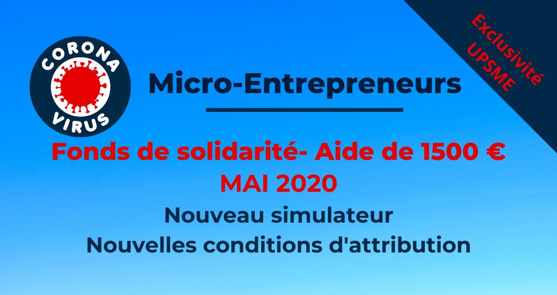 Le fonds de solidarité de l'État en mai 2020 pour le micro-entrepreneur