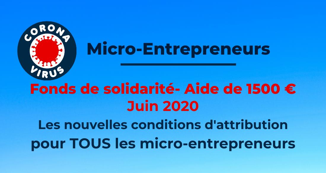 Le fonds de solidarité de l'État de Juin 2020 pour les micro-entrepreneurs