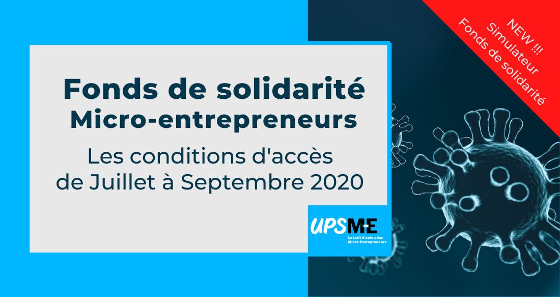 Micro-entrepreneurs : les conditions d'accès au fonds de solidarité jusqu'au 30 septembre 2020
