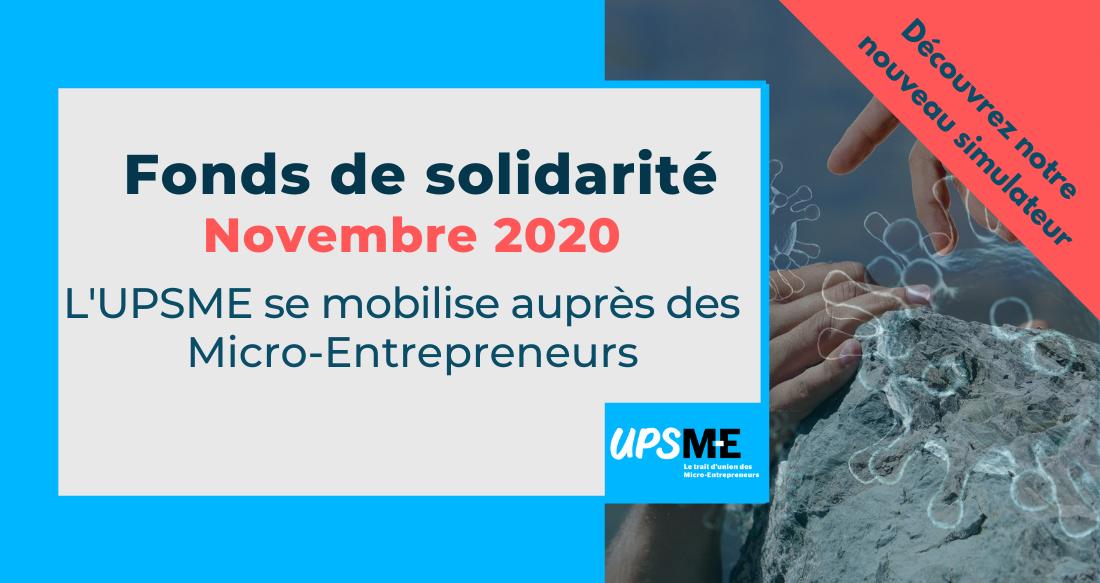 Le fonds de solidarité de novembre 2020 pour les micro-entrepreneurs